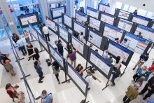 Overhead photo of posters at a past year's Research Day
