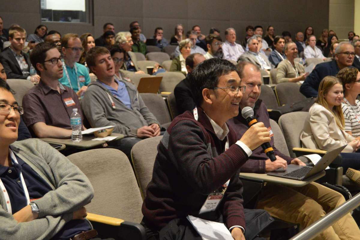 An audience member asks a question at the BMT winter workshop